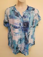Onque Woman Blue White Brushstroke Print Beaded Short Sleeve Top Plus Size 2X