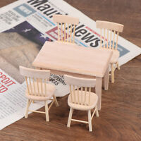 1Set 1/12 Dollhouse Miniature Dining Table Chair Doll House Wooden Furniture  E#