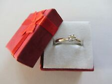 18 ct White Gold Diamond Solitaire Ring Size M 1/2 (53)
