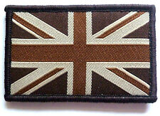 UNION JACK CLOTH PATCH Great Britain UJ velcro flag badge Team GB retro brown