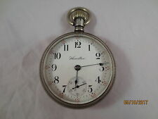 Vintage Antique Hamilton Sterling Silver 18s Pocket Watch Low Serial 6 Digits