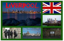 LIVERPOOL, MERSEYSIDE - SOUVENIR NOVELTY FRIDGE MAGNET - FLAGS / SIGHTS - GIFTS