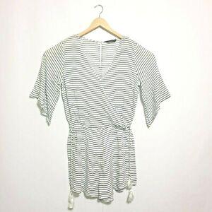 Decjuba Playsuit Sz 8 White Black Stripes Lined Elastic Waistband Short Sleeve
