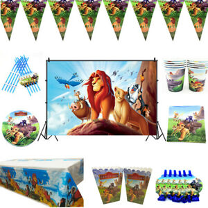 Lion King Birthday Party Backdrop Tableware Kids Decor Plates Tablecloth Banner