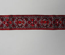 Red Woven Trim Ribbon with black silver & pink pearl beads & red sequins
