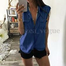 Zanzea 2017 Women Sleeveless V-neck Demin Jean LOOK Casual Tops Blouse T-shirt Dark Blue Button Down Lapel Polo Neck AU 8 (tag Size S)