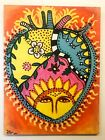 Original Art Acrylic Heart Painting On Wood Mexican Style by Tom Ford