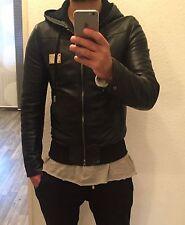 Dolce Gabbana d&g hooded logotipo plate chaqueta de cuero Leather Jacket Black 50 como nuevo!