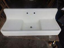 Antique Cast Iron White Porcelain Double Drainboard Farm Sink Old Vtg 314-16