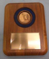 7 x 9 solid walnut wood plaque award trophy achievement blue velvet