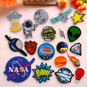UFO Planet Space NASA Embroidered Iron On Sew On Patch Badge Fabric Applique Bag