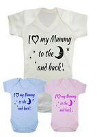 Baby Boy Girl I love my Mummy to the moon & back Vest,Bodysuit, Babygrow,Top,