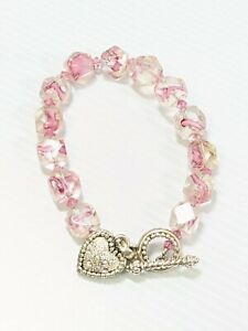 "Artisan Silver Tone Pink Glass Bead Aurora Borealis AB Crystal Heart Bracelet 8"""
