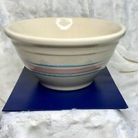 """Vintage McCoy Pottery Mixing Bowl 10"""" Beige w Pink And Blue Stripes Ovenware"""