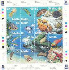 MNH MALTA STAMP SET SHEET 1999 FAUNA OF MEDITERRANEAN SEA SG 1112-1127