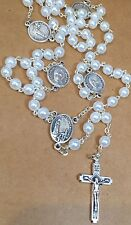 FATIMA pearl ROSARY with medallions of Jacinta Marto and Fracisco Marto 19""
