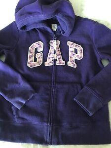 Gap Girls Size L, 10 Purple Zip Fleece Hoodie With Sequined Logo #725