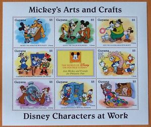 DISNEY- MICKEY'S ARTS & CRAFTS - 9 STAMP MINT SHEET.