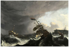 """Maritime """"Warships in a Heavy Storm"""" Ludolf Bakhuysen ca. 1695"""