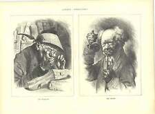 1871 Engravings German Caricatures Bookworm Doctor