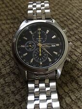 SEIKO Stainless Steel CHRONOGRAPH date 7T92 OPPO AO Quartz WATCH. Japan. works.