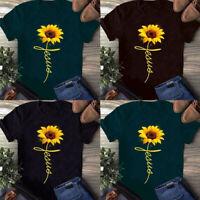 Womens Sunflower Print T-Shirt Ladies Summer Casual Short Sleeve Blouse Tee Tops