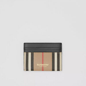 Genuine Burberry Icon Stripe E-canvas and Leather Men's Card Case Archive Beige