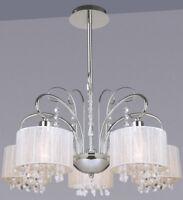 5-fl. moderner Kronleuchter Lampe Leuchte Stoff weiss Kristall LED Hängeleuchte