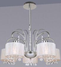 5-fl. Moderne Lustre Luminaire Lampe Tissu Blanc Cristal Led Éclairage Suspendu