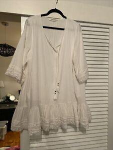 Cream White Boho Vituelle Lace Trim Tunic  Top Size 18 100% Cotton