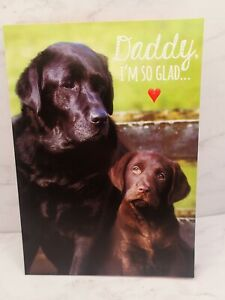 Happy Valentines Day Card DADDY BY MY SIDE Puppy Dogs Labrador