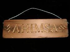 Handmade wooden gold finished Ahimsa hanging sign - vegan, buddhist