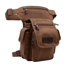 Canvas Waist Leg Drop Bag Men Tactical Military Motorcycle Messenger Fanny Pack