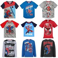 Boys Kids Children Spiderman Short Long Sleeve Tee T Shirt Top Age 4-10 years