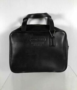 Coach Black Leather Small Double Short Handle Makeup Travel Toiletry Bag