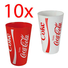10 X PLASTIC COCO COLA TUMBLER CUP DRINKING PARTY HOME CAMPING PICNIC BBQ COKE