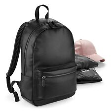 Black Faux Leather Backpack Bag Handbag Hand Bag Back Pack Rucksack Sack Luggage