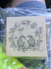 Vintage Stampa Rosa 374 Wreath Love House Mouse Stamp Brand New