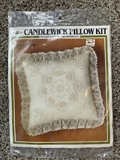 """Candlewick Embroidery Lace Edged Pillow Cover Kit Quilt Flower 14""""X14"""""""