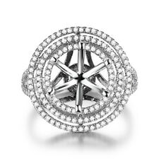 Flower Ring Solid 18k White Gold Jewelry Round 9mm to 9.3mm 1/2Ct Real Diamonds