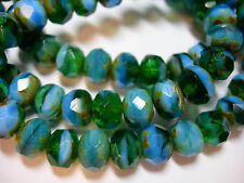 25 8x6mm Blue Lagoon - Green Blue Mix Czech Glass Picasso Rondelle beads