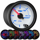 GlowShift 52mm White 7 Color 15 PSI Turbo Boost / Vacuum Gauge - GS-W701_15