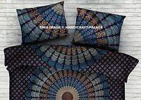 Pavo Real Mandala Estampado Cama Azul Funda de Almohada India Algodón Hogar Sofá