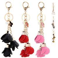 Charm PU Leather Rose Flowers Tassel Keychain Pendant Handbag Purse Car Key Ring