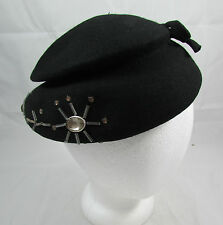 Vtg 40's 50's Belvedere Henry Pollack Black Wool Ladies Hat Cap Beaded With Pins