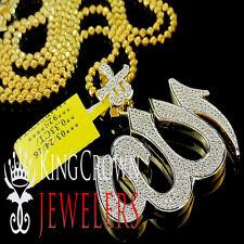 14K Yellow Gold Finish Real Genuine Pave Diamond God Allah Arabic Pendant Charm