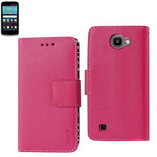 LG Spree / Optimus Zone 3 / K4 / Rebel Leather-Like Wallet Case w/ Folding Stand