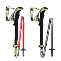 Collapsible Tri-fold Trekking Hiking Poles Carbon Fiber Walking Stick Anti-Shock