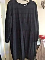 BNWT M&S PER UNA BLACK LINED DRESS LONG SLEEVE TEXTURED FABRIC DETAIL SIZE 24