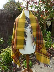 "Bronte Tweeds Wool Throw Shawl Rug Ochre Green Orange Rust Gold 48"" x 36"""